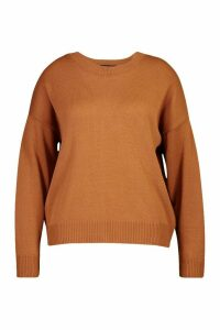 Womens Plus Boxy Crew Neck Jumper - Beige - 24-26, Beige