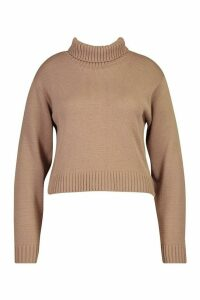 Womens Plus Roll Neck Crop Jumper - beige - 20-22, Beige
