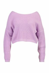 Womens Plus V-Back Crop Jumper - Purple - 24-26, Purple