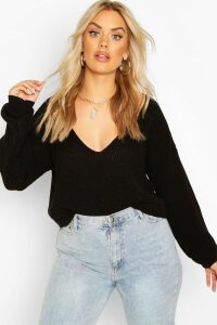 Womens Plus V-Neck Fisherman Crop Jumper - Black - 24-26, Black