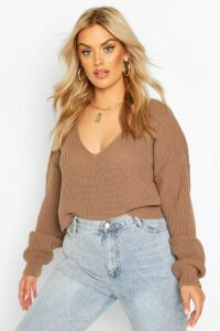 Womens Plus V-Neck Fisherman Crop Jumper - beige - 16-18, Beige