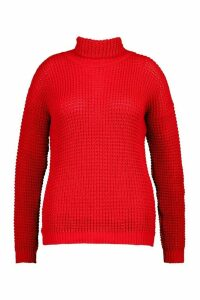 Womens Plus Roll Neck Waffle Knitted Jumper - red - 24, Red