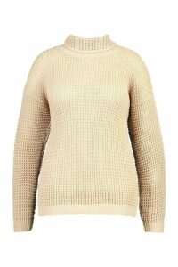Womens Plus Roll Neck Waffle Knitted Jumper - beige - 20, Beige