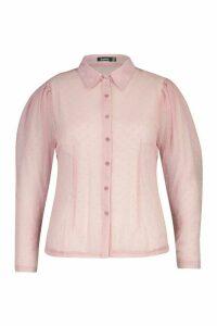 Womens Plus Dobby Mesh Puff Sleeve Shirt - pink - 24, Pink