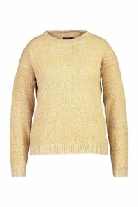 Womens Plus Textured Oversized Knit Jumper - beige - 20, Beige