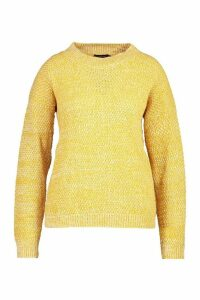 Womens Plus Textured Oversized Knit Jumper - yellow - 22, Yellow