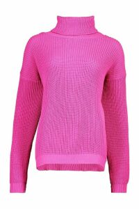 Womens Fisherman Roll Neck Jumper - Pink - S/M, Pink