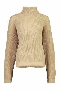 Womens Fisherman Roll Neck Jumper - beige - M/L, Beige