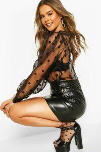 Womens Spot Organza Mesh Blouse - black - 12, Black