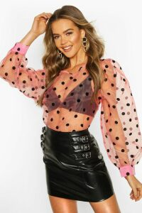 Womens Spot Organza Mesh Blouse - Pink - 8, Pink