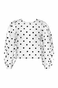 Womens Spot Organza Mesh Blouse - white - 14, White