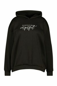 Womens Plus Perfectly Imperfect Slogan Hoodie - Black - 20, Black