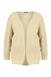 Womens Plus Waffle Knitted Chunky Oversized Cardigan - beige - 24-26, Beige
