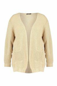 Womens Plus Waffle Knitted Chunky Oversized Cardigan - beige - 24-26, Beige