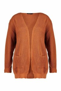 Womens Plus Waffle Knitted Chunky Oversized Cardigan - orange - 24-26, Orange