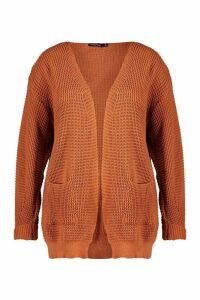 Womens Plus Waffle Knitted Chunky Oversized Cardigan - orange - 24-26, Orange