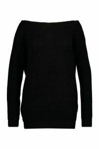 Womens Plus Slash Neck Fisherman Jumper - black - 24, Black