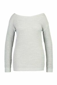 Womens Plus Slash Neck Fisherman Jumper - grey - 24, Grey