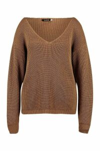 Womens Plus Oversized V-Neck Jumper - beige - 20, Beige