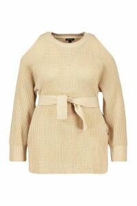 Womens Plus Open Shoulder Tie Waist Jumper - Beige - 24-26, Beige