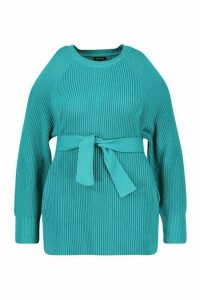 Womens Plus Open Shoulder Tie Waist Jumper - green - 24-26, Green