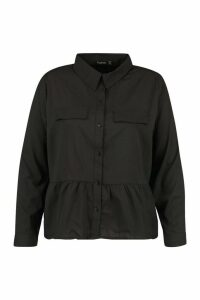 Womens Plus Utility Pocket Woven Smock Top - black - 20, Black