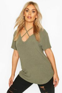 Womens Plus Cross Front Strap Ribbed T-Shirt - Green - 24, Green