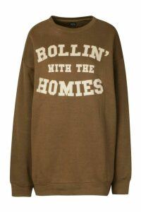 Womens Rolling With The Homies Slogan Oversized Sweatshirt - Green - M, Green