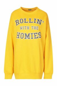 Womens Rolling With The Homies Slogan Oversized Sweatshirt - Yellow - S, Yellow