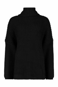 Womens Chunky Oversized Boyfriend Jumper - black - S/M, Black