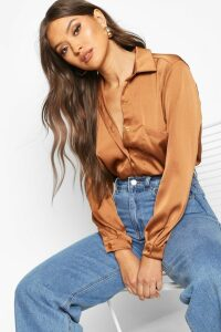 Womens Oversized Pocket Detail Satin Shirt - Beige - 12, Beige