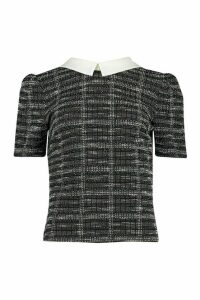 Womens Boucle Double Checked Collared Puff Sleeve Top - black - 14, Black