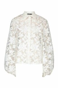 Womens Floral Organza Oversized Sleeve Shirt - white - 10, White