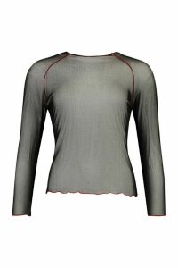 Womens Contrast Stitch Mesh Longsleeve Top - black - 14, Black