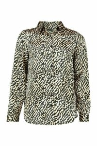Womens Satin Animal Print Shirt - beige - 6, Beige