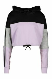 Womens Colour Block Sports Stripe Tie Crop Hoodie - purple - 16, Purple