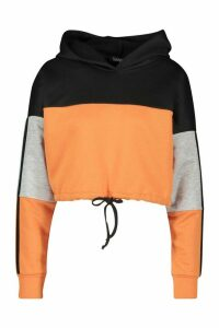 Womens Colour Block Sports Stripe Tie Crop Hoodie - Orange - 12, Orange