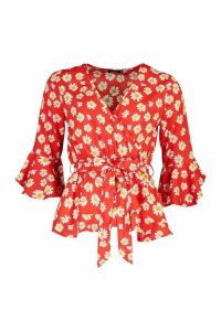 Womens Daisy Print Wrap Blouse - red - 16, Red