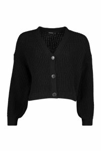 Womens Petite Balloon Sleeve Rib Knitted Cardigan - black - S, Black