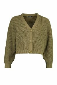 Womens Petite Balloon Sleeve Rib Knitted Cardigan - green - M, Green