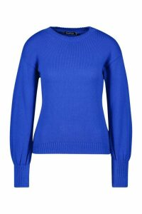 Womens Petite Fluffy Knit Balloon Sleeve Jumper - blue - M, Blue