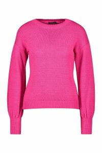 Womens Petite Fluffy Knit Balloon Sleeve Jumper - Pink - L, Pink