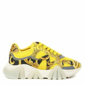 Versace Squalo Yellow Mesh & Leather Sneakers