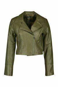 Womens Faux Leather Biker Jacket - green - 14, Green