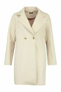 Womens Double Breasted Wool Look Coat - beige - 10, Beige