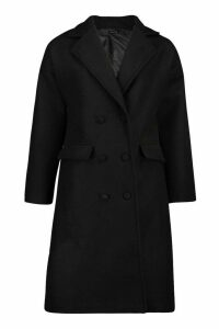 Womens Fabric Covered Buttoned Wool Look Coat - black - 14, Black