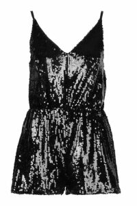 Womens Sequin Cami Swing Playsuits - black - 8, Black
