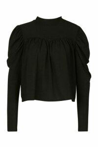 High Neck Puff Sleeve Smock Top - black - 8, Black