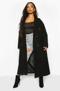 Womens Petite Wool Look Double Breasted Long Line Coat - black - 12, Black