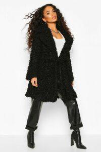 Womens Petite Teddy Faux Fur Belted Coat - black - 12, Black